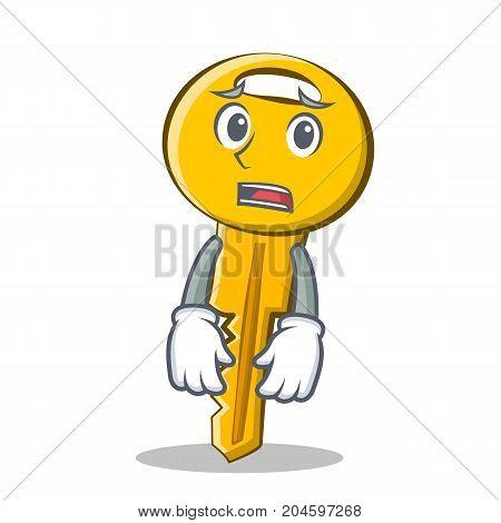 Afraid key character cartoon style vector illustration