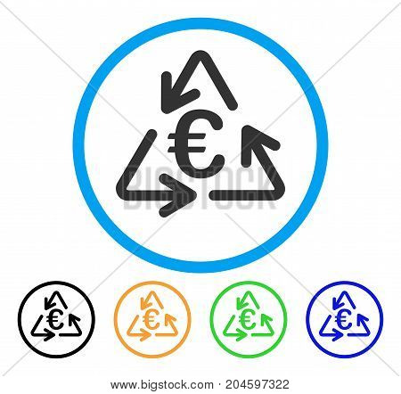 Euro Recycling icon. Vector illustration style is a flat iconic euro recycling grey rounded symbol inside light blue circle with black, green, blue, yellow color versions.