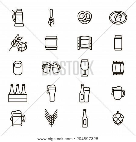 Beer Alcohol Drink Thin Line Icon Set Liquid Beverage Bar or Pub Symbols Include of Beer Glass, Bottle, Can and Mug. Vector illustration