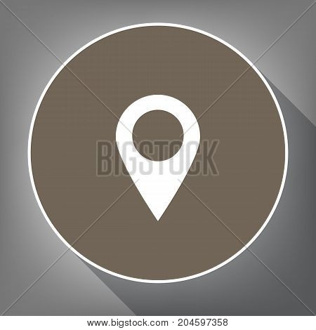 Mark pointer sign. Vector. White icon on brown circle with white contour and long shadow at gray background. Like top view on postament.