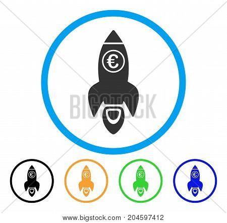 Euro Rocket Launch icon. Vector illustration style is a flat iconic euro rocket launch gray rounded symbol inside light blue circle with black, green, blue, yellow color versions.