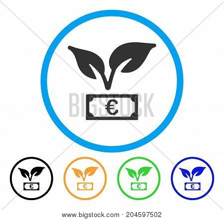 Euro Startup Sprout icon. Vector illustration style is a flat iconic euro startup sprout gray rounded symbol inside light blue circle with black, green, blue, yellow color variants.