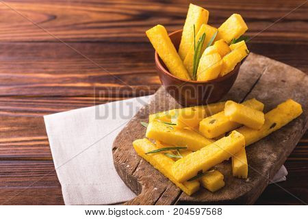 Polenta Fries With Rosemary. Italian Appetizers. Horizontal View.