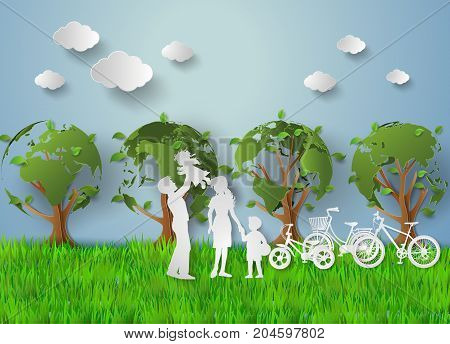 concept of eco with family.paper cut style