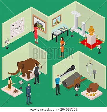 Interior Museum Exhibits Galleries Isometric View Culture Industry Concept with Visitors and Staff. Vector illustration of Exhibition Gallery