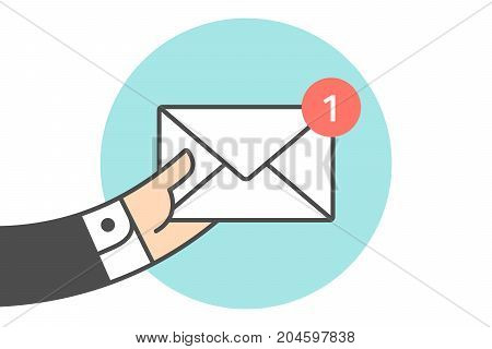 Icon of new mail envelope. White mail envelope with red marker. Hand of busnessman holds the one email icon or message. Icon of mail envelope isolated on a blue circle. Vector Illustration