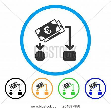 Euro Cash Flow icon. Vector illustration style is a flat iconic euro cash flow gray rounded symbol inside light blue circle with black, green, blue, yellow color variants.