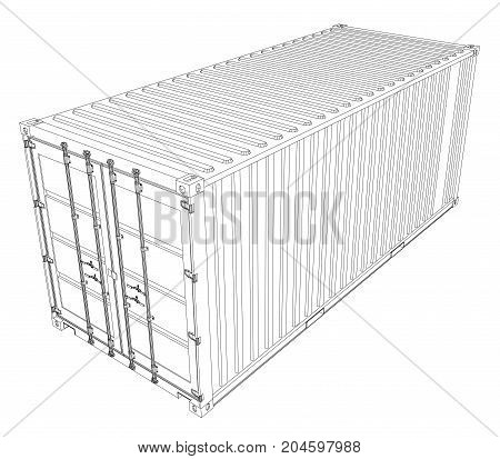 Cargo container. Wire-frame style. Vector rendering of 3d