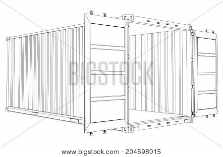 Open Empty Cargo Container. Wire-frame style. Vector rendering of 3d