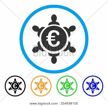 Euro Collaboration icon. Vector illustration style is a flat iconic euro collaboration gray rounded symbol inside light blue circle with black, green, blue, yellow color variants.
