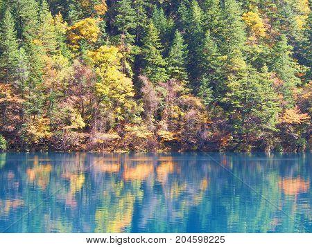 Clear Water Jiuzhaigou. Nature Reserved. National Park. .chengdu , Sichuan, China.