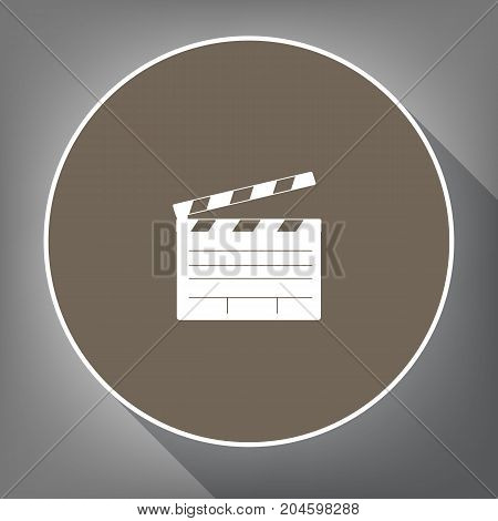 Film clap board cinema sign. Vector. White icon on brown circle with white contour and long shadow at gray background. Like top view on postament.