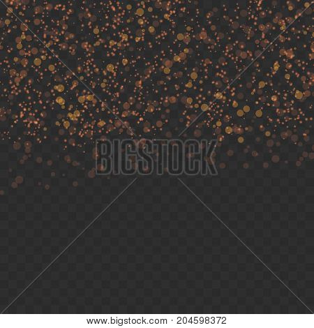 Abstract glitter shimmering particles over dark layout. Vector illustration