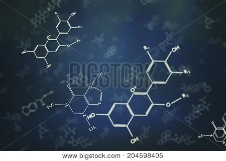 3D Rendered Illustration Of Chemical Molecule Formulas.