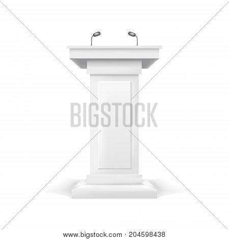 Realistic Template Blank White Podium Tribune with Microphones Isolated Empty Mock Up for Public Award, Conference, Debate or Seminar. Vector illustration poster