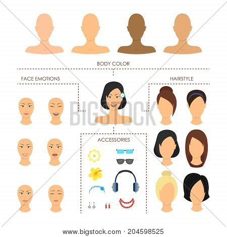 Cartoon Woman Face Constructor Element Set Female Beauty Concept Flat Design Style. Vector illustration of Girl Faces Creator