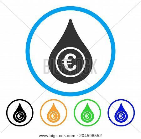 Euro Liquid Drop icon. Vector illustration style is a flat iconic euro liquid drop grey rounded symbol inside light blue circle with black, green, blue, yellow color versions.