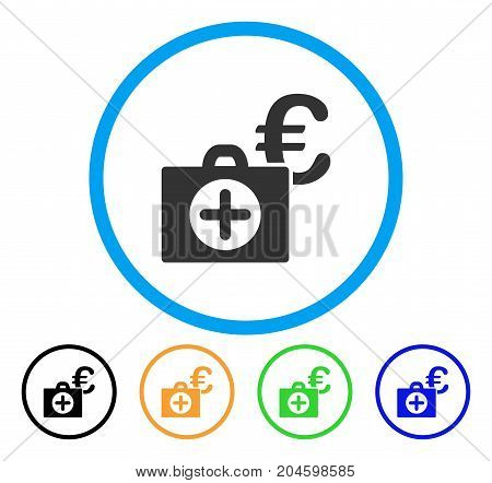 Euro Medical Payment icon. Vector illustration style is a flat iconic euro medical payment grey rounded symbol inside light blue circle with black, green, blue, yellow color variants.