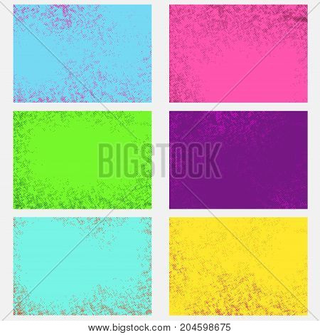 Bright abstract comic style graphic retro page backgrounds collection. Pop-art vintage grain graphic dot texture bright fashion layout set. Vector illustration