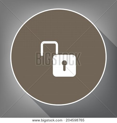 Unlock sign illustration. Vector. White icon on brown circle with white contour and long shadow at gray background. Like top view on postament.
