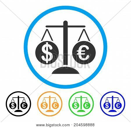 Forex Market Scales icon. Vector illustration style is a flat iconic forex market scales grey rounded symbol inside light blue circle with black, green, blue, yellow color variants.