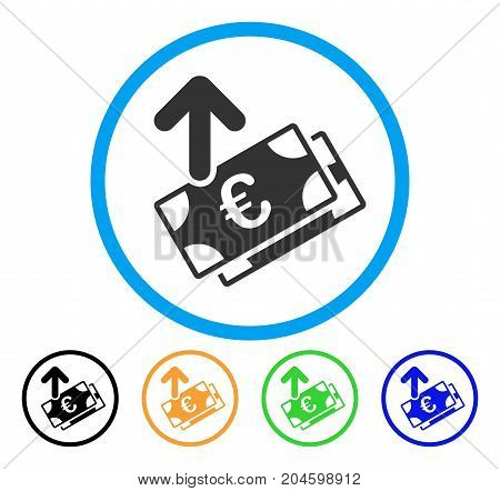 Spend Euro Banknotes icon. Vector illustration style is a flat iconic spend euro banknotes grey rounded symbol inside light blue circle with black, green, blue, yellow color versions.