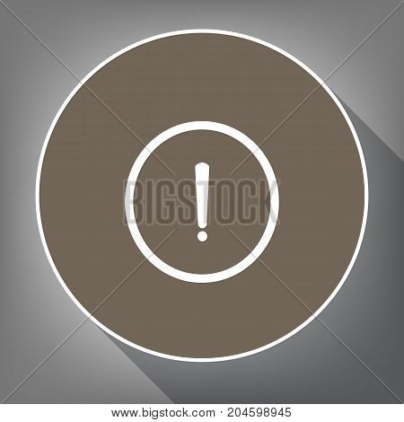 Exclamation mark sign. Vector. White icon on brown circle with white contour and long shadow at gray background. Like top view on postament.
