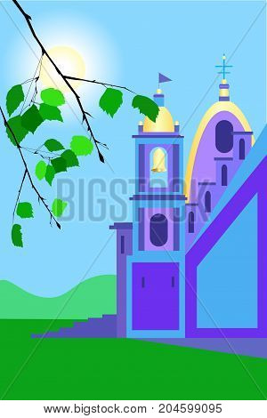 Catholic church colored on sunny day vector illustartion