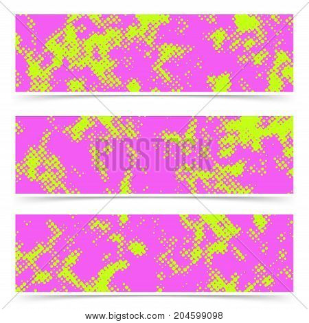 Bright dotted pink and green cards collection. Comic style pop art abstract grain print look flyer background set template. Vector illustration
