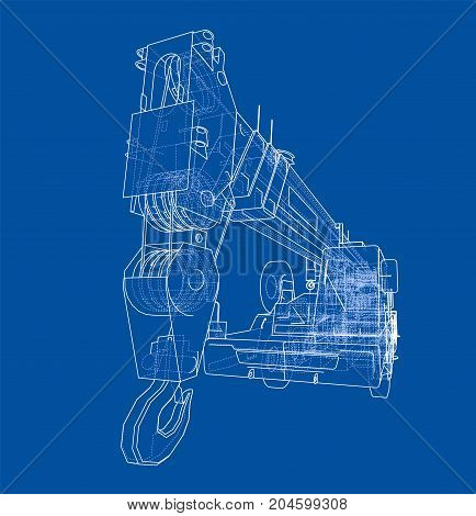 Mobile crane. Vector rendering of 3d. Wire-frame style. The layers of visible and invisible lines are separated
