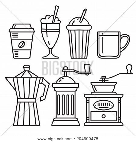 Set of icons of coffee accessories coffee grinder mug coffee pot Vector illustration