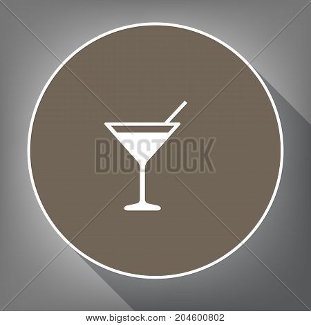 Cocktail sign illustration. Vector. White icon on brown circle with white contour and long shadow at gray background. Like top view on postament.