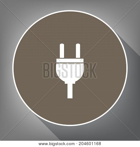 Socket sign illustration. Vector. White icon on brown circle with white contour and long shadow at gray background. Like top view on postament.