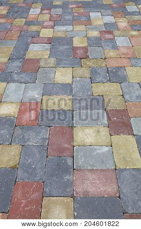 Street Road Stone Paving Of Multicolor Bricks
