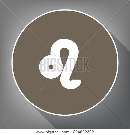 Leo sign illustration. Vector. White icon on brown circle with white contour and long shadow at gray background. Like top view on postament.