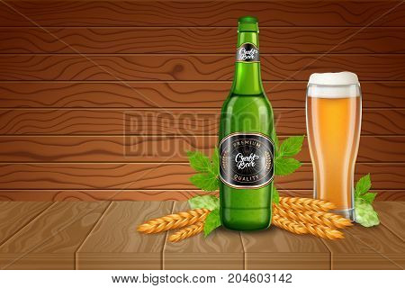 Poster ads template with realistic tall beer glass, malted, hops and bottle with classic light beer on a wood desks background. Vector illustration of a 3d style.