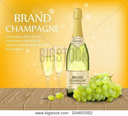Vector poster template of Wineglass with a realistic bottle of champagne, grapes and two glasses on wood table. Vector 3d illustration.