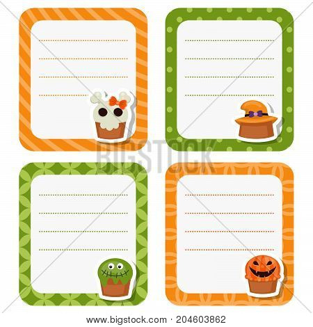 Cute cards with Halloween cupcakes on white background