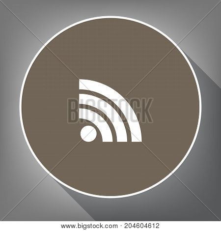 RSS sign illustration. Vector. White icon on brown circle with white contour and long shadow at gray background. Like top view on postament.
