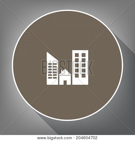 Real estate sign. Vector. White icon on brown circle with white contour and long shadow at gray background. Like top view on postament.