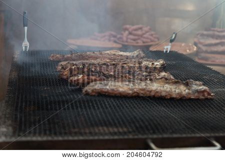 Outdoor Grilled Meat: Steaks and Sausages, Food Theme