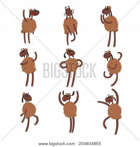 Funny cartoon sheep character set, brown sheep with different emotions colorful vector Illustrations on a white background