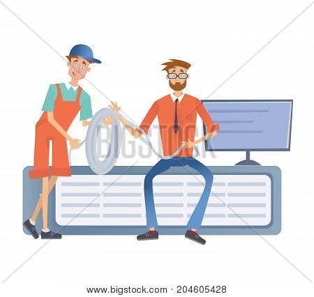 A man working with a computer server or a render farm. Technicians in the data center. Vector illustration, isolated on white background.