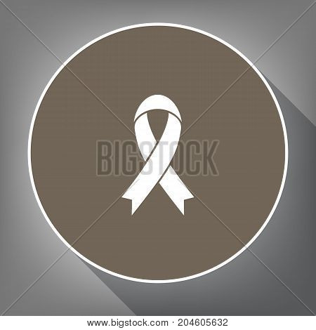 Black awareness ribbon sign. Vector. White icon on brown circle with white contour and long shadow at gray background. Like top view on postament.