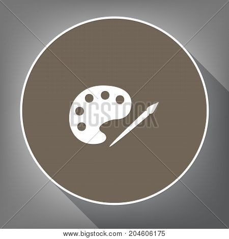 Palette and paint brush sign. Vector. White icon on brown circle with white contour and long shadow at gray background. Like top view on postament.