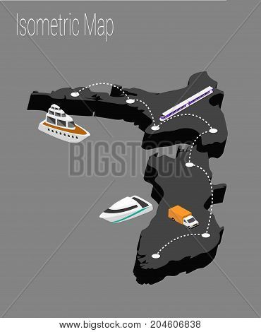 Map new Zealand isometric concept. 3d flat illustration of Map new Zealand.