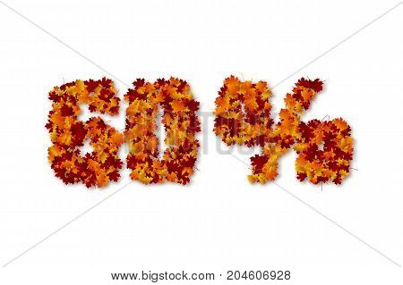 60 percent autumn leaves sale sign. Isolated on white background. Vector illustration.