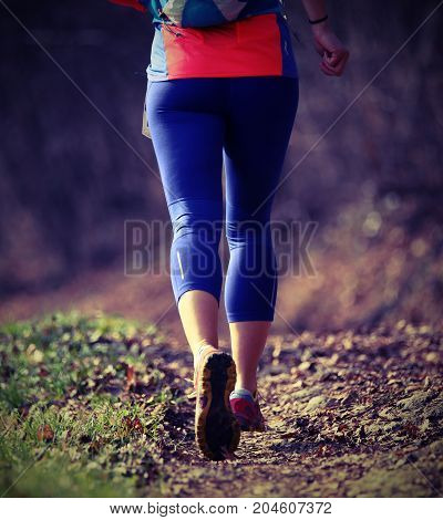 Runner During Cross-country Running In Winter