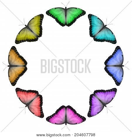 Rainbow Butterfly Border - Eight  butterflies in green, turquoise, blue, purple, pink, red, orange and yellow creating a circular border isolated on a white background with copy space in the middle