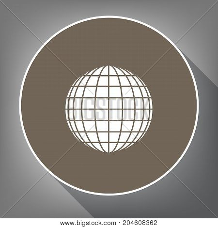 Earth Globe sign. Vector. White icon on brown circle with white contour and long shadow at gray background. Like top view on postament.